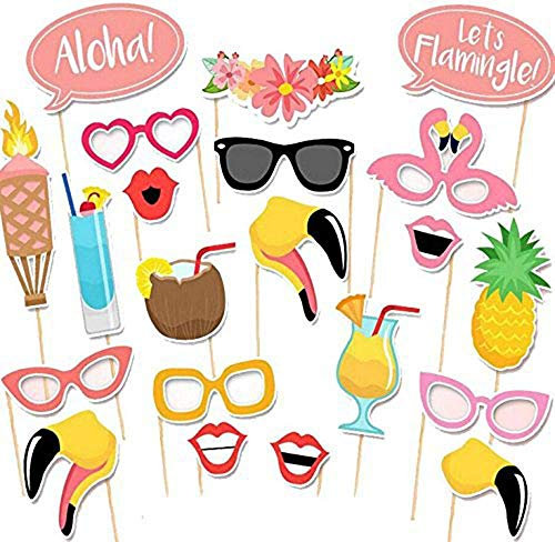 HOWAF 21pcs Hawaiana Photo Booth Props Hawaiano photocall Accesorios Decoracion para Playa Fiesta en la Piscina de Verano Decoración de Bodas cumpleaños