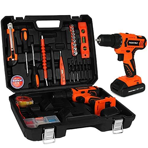 FADAKWALT Tool Kit with 20V Cordless Electric Drill, 36Pcs Accessories, 2pcs Li-Ion Battery, Charger, 0-400/1500RPM Variable Speed, 3/8'' Keyless Chuck, 21+1 Torque Setting,Power Tools Combo Kit