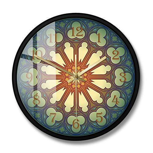 Reloj de Pared con diseño de rosetón, Medieval Europeo, arquitectónico, Arte de Pared, sin tictac, silencioso, decoración del hogar, Reloj de Pared (Marco de Metal)