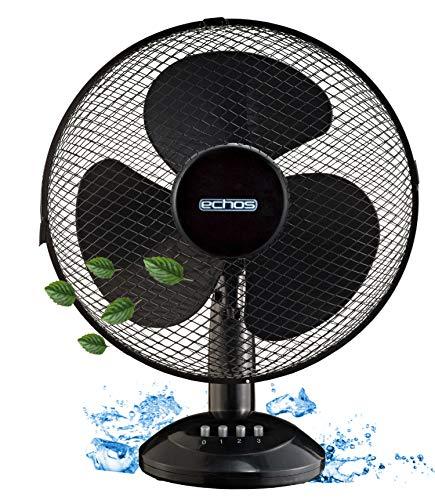 Tischventilator Ø31 cm | 45 Watt | 3 Stufen | Ventilator | Rotation zuschaltbar | Oszillierend | Leiser Betrieb | Geeignet für Büro, Schlafzimmer, Wohnzimmer | Table Fan | Kleiner Ventilator