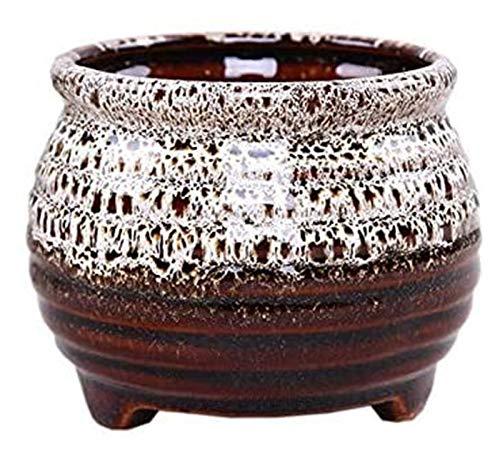 Macetas de cerámica macetas de macetas al aire libre plantador de cerámica planta de cerámica planta interior 9x7.8cm, macetas de cerámica de cerámica grande, pequeño bonsai plantador maceta 2 piezas