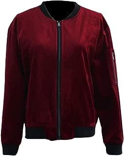 JSY Womens Coat Casual Bomber Velour Outer Baseball Jacket