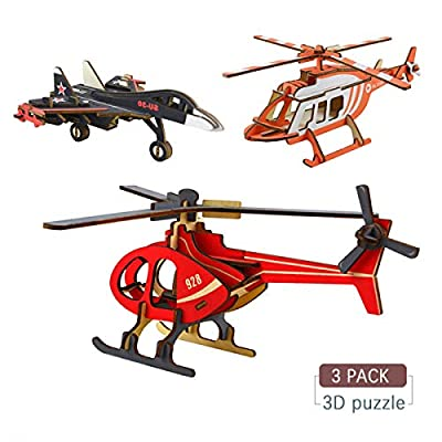 3D Puzzle, Zedela Model Airplane Wooden Puzzles for Adults/Boys/Girl/Kids Laser-Cut Air Vehicle Kits 3D Wooden Puzzle Toy 3 PCS Christmas/Birthday/Thanksgiving Day Gift