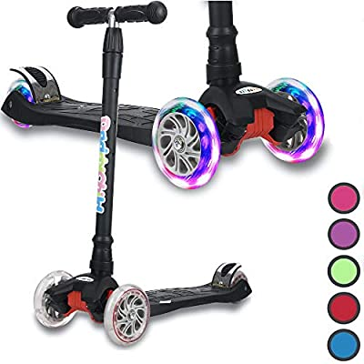 Kick Scooter for Kids, 4 Adjustable Height, Lean to Steer with PU Light Up Wheels, Training Balance Toys for Children from 2 to 13 Year-Old, Gifts for Child (Black)