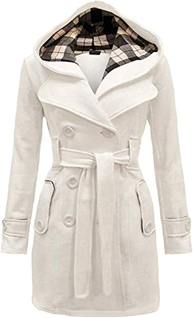 GORIFE Women Winter Double Breasted Faux Fur Pea Coats Solid Thick Hooded Lapel Jackets with Belt S-2XL