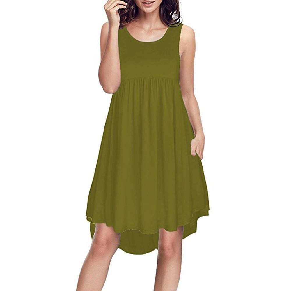 Available at Amazon: Fudule Women Sleeveless Dresses Summer Beach Holiday Loose A-Line Swing Dress Mini Dresses Swing Dress for Women Sundress
