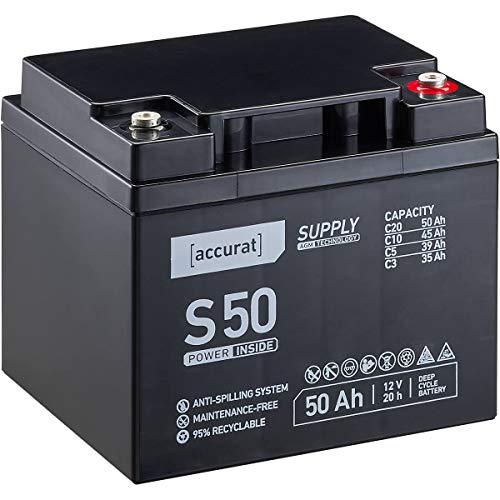 Accurat 12V 50Ah Blei-Akku AGM Blei-Batterie Zyklenfest Supply-Serie VRLA Versorgungsbatterie S50 (wartungsfrei)