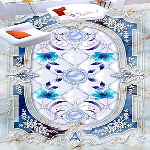 Pintura de piso de mármol azul europeo PVC autoadhesivo impermeable mural 3d suelo de baldosa papel tapiz cocina pegatina de baño-300cmx210cm