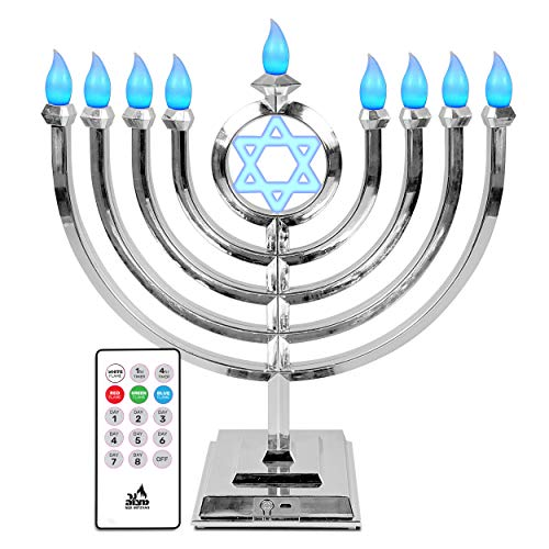 Ner Mitzvah LED Electric Hanukkah Menorah - Color Changing LED Traditional Classic Chanukah Menorah with Remote- Battery or USB Powered - Included - Silver
