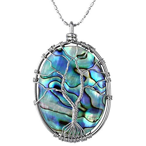 TUMBEELLUWA - Collar con Colgante de árbol de la Vida, Cristales curativos, joyería para Mujeres
