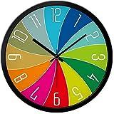 JJDSN Reloj de Pared de Colores Números Blancos Relojes Colgantes de Pared Relojes silenciosos Arte Hogar Reloj de Cuarzo Jardín de Infantes Relojes de Dibujos Animados Uso Familiar