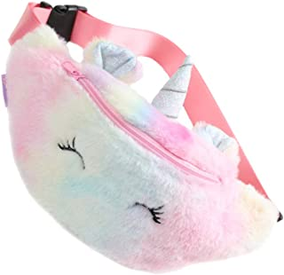 KESYOO Unicorn Waist Bag Plush Belt Bag Chest Bag Small Shoulder Bag Cute Bum Bag for Kids Girls Cute Fanny Pack Pink