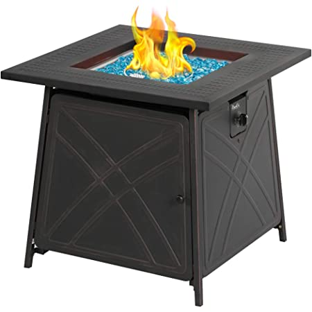 Amazon Com Bali Outdoors Firepit Lp Gas Fireplace 28 Square Table 50 000btu Fire Pit Black Garden Outdoor