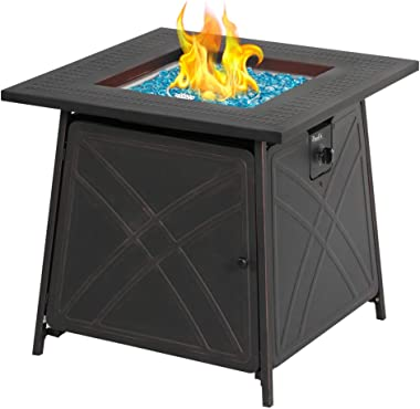 "BALI OUTDOORS Firepit LP Gas Fireplace 28"" Square Table 50,000BTU Fire Pit, Black"