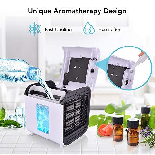 Hisome 4 In 1 Mobile Klimageräte Klimagerät Persönliche Luftkühler, Luftbefeuchter, Luftreiniger und Aromadiffusor, USB Klimaanlage Air Conditioner, 3 Kühlstufen, 7 Farben LED Kühlung Klima Klein