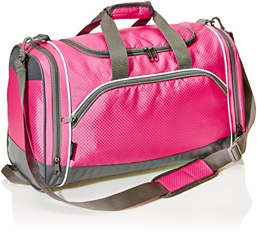 AmazonBasics Small Lightweight Durable Sports Duffel Gym and Overnight Travel Bag - Pink