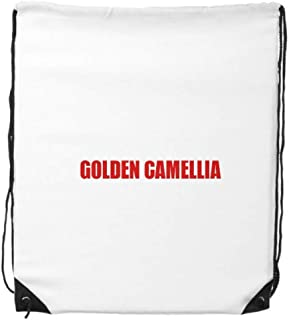 cold master DIY lab Golden Camellia Flower Red Plant Drawstring Backpack Shopping Sports Bags Gift