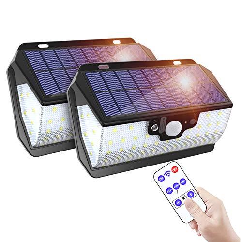 ERAY Luces LED Solares Exteriores con Sensor de Movimiento 55 LEDs/ 800 Lúmenes/Control Remoto/USB Carga/ 3 Modos/ IP65 Impermeable, Luz Solar Exterior para Jardín, Patio, Terraza, Camino (2PCS)