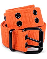boxed-gifts Solid Color Military and Casual Canvas Belt, Double Grommet Unisex Belt for Men and Women - Orange