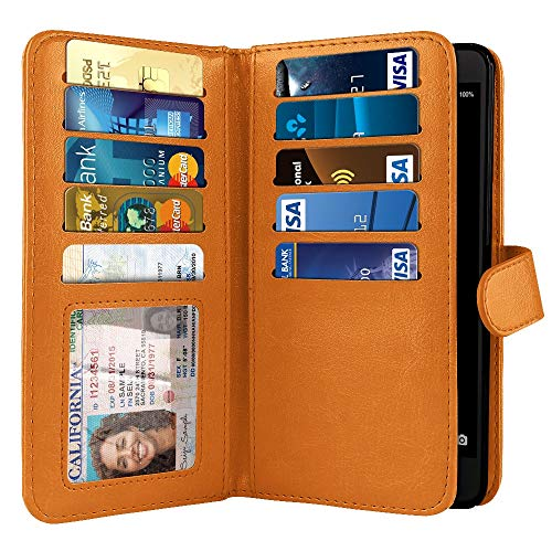 NEXTKIN Case Compatible with ZTE Blade Z Max Z982/ Sequoia, Leather Dual Wallet Folio TPU Cover, 2 Large Pockets Double Flap, Multi Card Slots Snap Button Strap for Blade Z Max Z982 - Orange