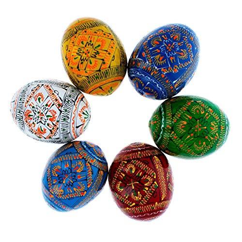 BestPysanky Set of 6 Geometric Ukrainian Pysanky Wooden Easter Eggs 2.25 Inches