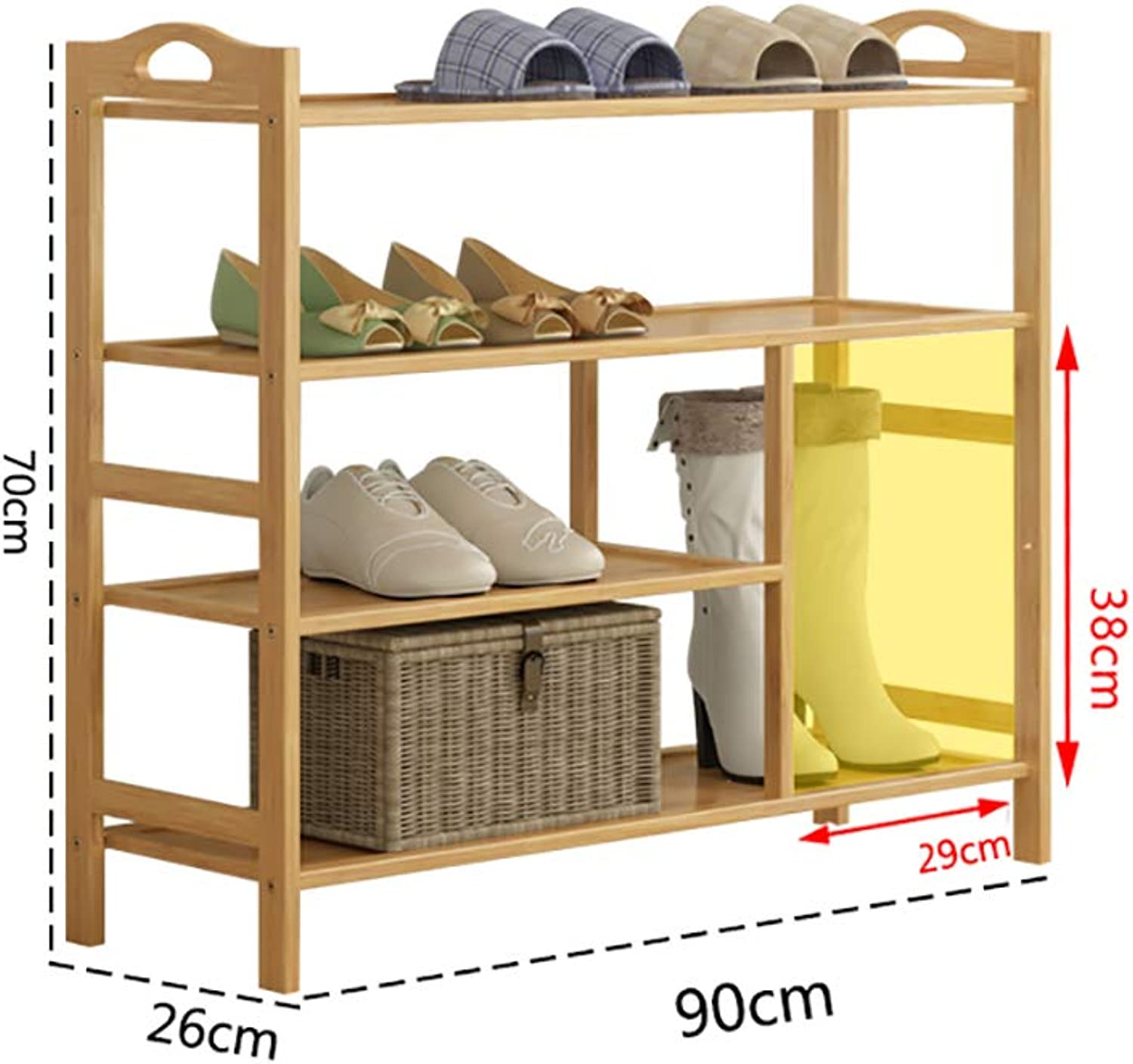 shoes Bench Organizing Rack Natural Bamboo shoes Rack 4 Layer Small shoes Shelf Simple Home Boots Storage Rack (Size   90  26  70cm)