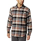 Columbia Men's Cornell Woods Flannel Long Sleeve Shirt, Olive Brown Medium Plaid