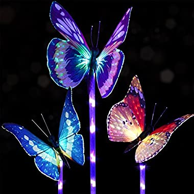 Doingart Garden Solar Lights Outdoor - 3 Pack Solar Stake Light Multi-color Changing LED Garden Lights, Fiber Optic Butterfly Decorative Lights, Solar Powered Stake Light with a Purple LED Light Stake