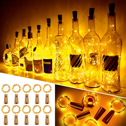 Ariceleo Luci Bottiglia, 10 Pezzi 20 LED 2 Metro a Batteria Rame Filo Set Vino Bottiglia Tappo Stringa Luci con Sughero Catena per Natale Matrimonio Halloween Giardino Feste Lucine(Bianco Caldo)
