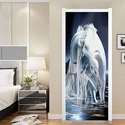 PYUK 3D fotobehang wit Horse olieverfschilderij poster deur sticker muurkunst PVC waterdicht zelfklevende deur muurschildering Papel De Parede 95 x 215 cm.