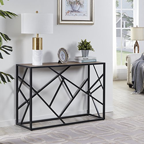 "Homissue 30"" Height Console Sofa Table with Sturdy Criss-Cross Design for Hallway/Living Room/Entryway, Retro Brown"