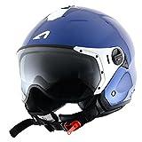 ASTONE - Casco Jet minijet deportivo, color azul metálico, talla XL