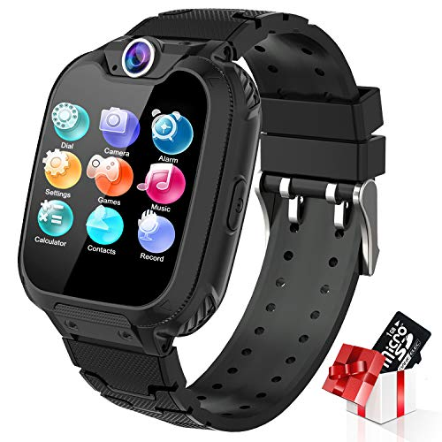 Kids Smart Watch for Boys Girls - Touch Screen Smartwatch with Phone Call SOS Music Player Alarm Camera Games for Christmas Birthday (Black)