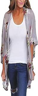 iYBUIA Summer Autumn Chiffon Women Print Loose Shawl Print Kimono Cardigan Top Cover up Blouse Beachwear