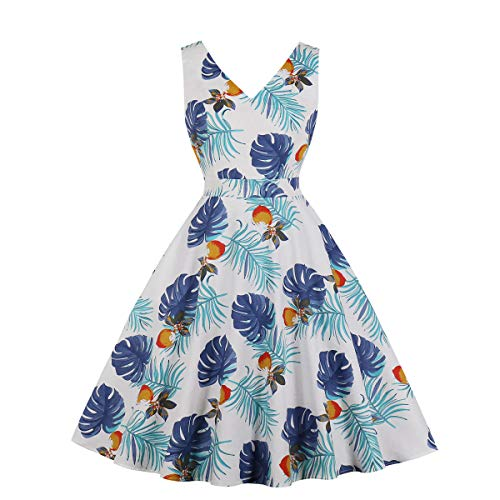 50s Retro Watermelon Print Colorblocking Waist Swing Dress Biback Vintage Dresses