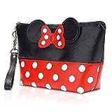 Borsa per cosmetici Mickey,Minnie Ears Style Pois,Borsa Femminile in PU da Viaggio a Pois Bowknot,Custodia per Cosmetici,Moda Lavaggio Borsa Da Toilette