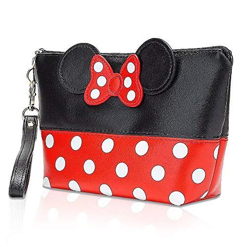 Bolsa de Almacenamiento de Maquillaje Mickey,Bolso Femenino de PU de Viaje con Lunares Bowknot,Bolsas de Aseo,para Hogar Vacaciones Viaje de Negocios Equipaje