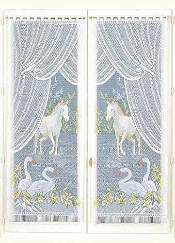 HomeMaison Equestre Paire de vitrages Esprit, Polyester, Peint, 220x60 cm
