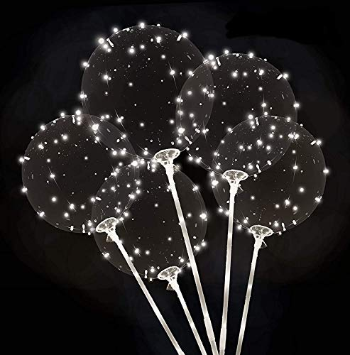Zancybuzz 10 PCS 20 Inches Led Light Up White Bobo Balloons With Stick , 3 Mode Flashing Transparent Light Balloons with Feather and Glue Tape Handle Great For Decorations, Weddings, Banquets, Outdoor and Indoor Parties, Anniversary, House Party, Family Reunion, Birthday and Event Centerpieces