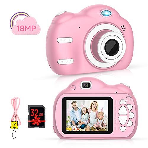 Kinderkamera - Digitalkamera für Kinder mit 2,5 Zoll Bildschirm 1080P HD 18MP Eingebaute 32 GB TF Karte USB Akku für Mädchen Jungen Geburtstagsgeschenke (Rosa)