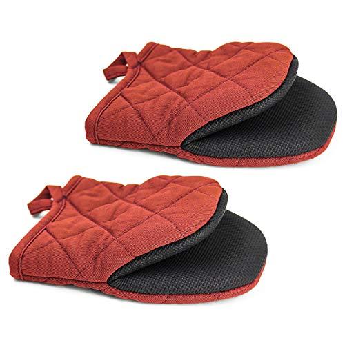 Topsky Mini Ofenhandschuhe Mikrowellen Handschuhe Topflappen Extrem Hitzebeständig Neopren Baumwolle Handschuhe Oberflächen Rutschfeste Kurze Ofenhandschuhe Rot 1 Paar