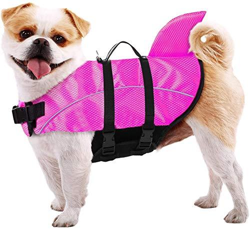 Chaleco salvavidas para perro chaleco reflectante chaleco salvavidas de seguridad con mango de rescate de aleta de tiburón para salvavidas pequeño, mediano y grande, rosa, XS