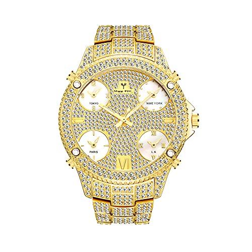 KLFJFD Reloj De Diamantes De Imitación Luminoso para Hombre, Pantalla De Múltiples Zonas Horarias, Esfera Grande, Reloj Impermeable, Evento De Moda, Regalo A Juego, Reloj Informal De Moda