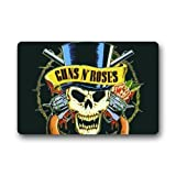 LINFENG Custom Guns N Roses Logo Skull Welcome Door Mat Rug Indoor/Outdoor Mats Welcome Doormat Decor Rug 80 x 50cm