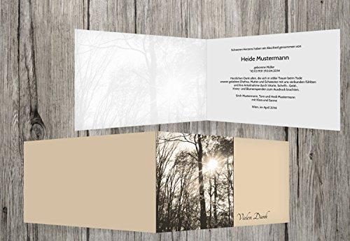 trauerkarten-druck   Trauer Danksagung   Dankeskarte Trauer Wald   20 Karten   mit Individualisierung & Umschlägen   in SandBeige