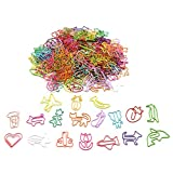 150 Pcs Random Shaped Paperclip,Fun Paper Clips,Assorted Colors Paperclip,Coated Paper Clips, Bookmark Clips Office Supplies for Students, Kids, Teachers