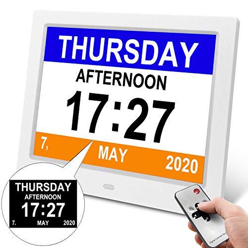 YENOCK Demenz-Tagesuhr, Gedächtnisverlust Digitalkalender-Tagesuhr, mit extra großem Nicht abgekürztem Tag u. Monat. Perfekt für Senioren