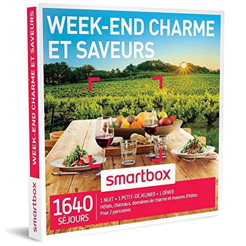 SMARTBOX - Coffret Cadeau homme femme couple - Week-end charme et saveurs - idée cadeau - 1640 séjours : 1 nuit • 1 petit-déjeuner • 1 dîner pour 2