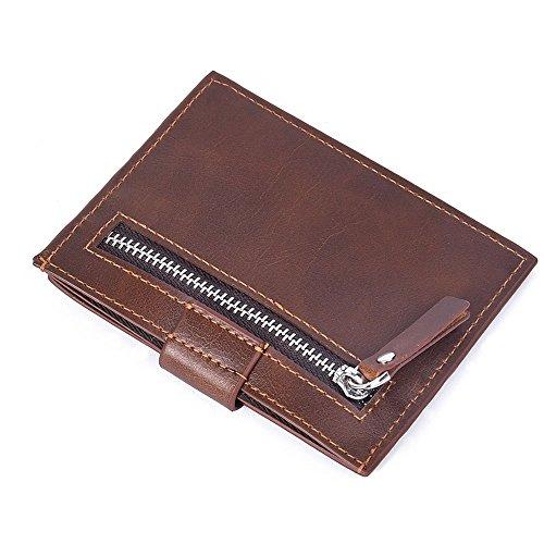 Cartera de Piel,Paquete de Tarjeta de Licencia de Conducir de Billetera Corta para Hombre,Carteras Hombre Cuero,RFID Bloqueo,Gran Capacidad Multiuso Bolsillos Monedero ,Retro Billeteras