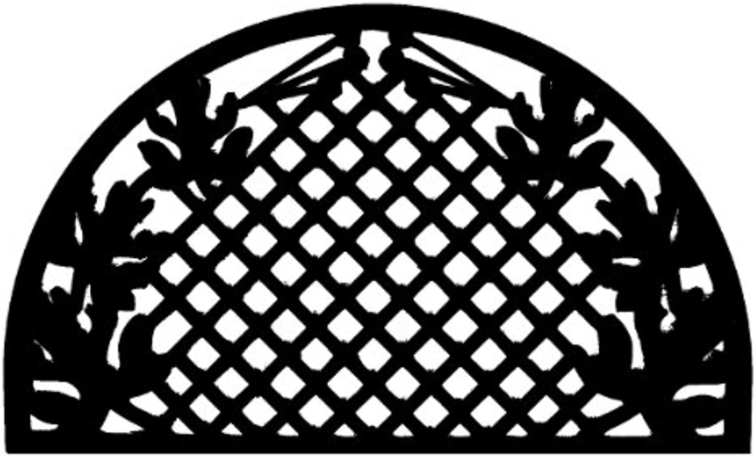 Imports Decor Half-Round Rubber Doormat Grid Leaves 18-inch by 30-inch